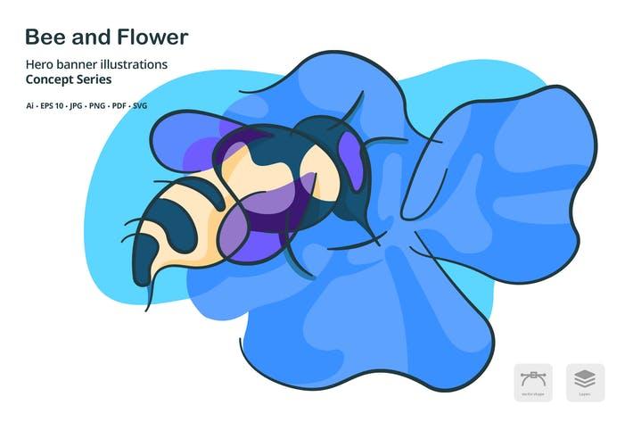 وکتور لایه باز زنبور عسل در حال خوردن شهد گل